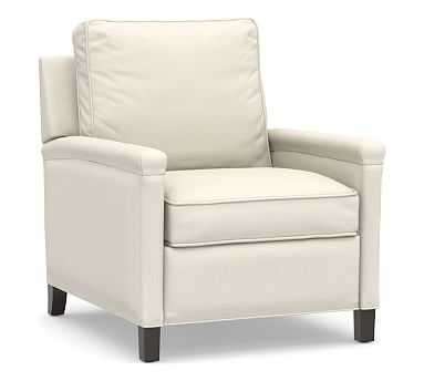 Tyler Square Arm Upholstered Recliner without Nailheads, Down Blend Wrapped Cushions, Sunbrella(R) Performance Boss Herringbone Ecru - Pottery Barn
