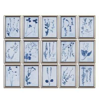 'Floral' 15 Piece Picture Frame Gallery Wall Set on Glass - Wayfair