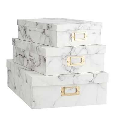 Stacking Paper Storage Boxes, Quarry, Set of 3 - Pottery Barn Teen