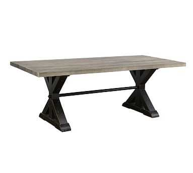 Bismark Dining Table, Ash Gray and Distressed Black - Pottery Barn