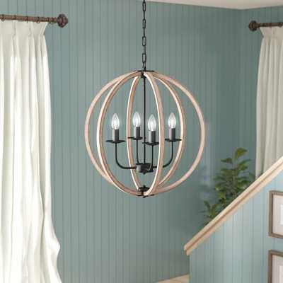 Pruneda 4 - Light Candle Style Globe Chandelier with Wood Accents - Birch Lane