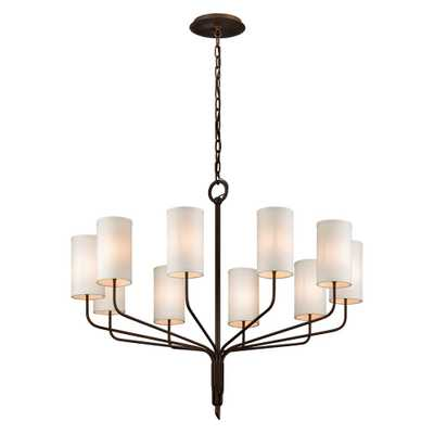 Troy Lighting Juniper 10-Light Juniper Bronze 42 in. D Chandelier with Off-White Hardback Linen Shade - Home Depot