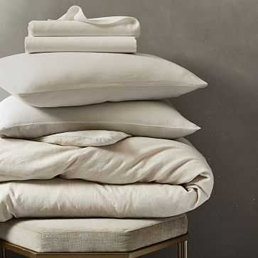 Belgian Flax Linen Duvet + Shams + Sheet Set Bundle, Natural Flax, King - West Elm