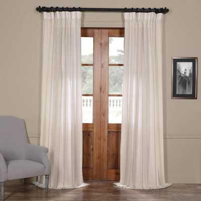 Exclusive Fabrics & Furnishings Aruba Gold White Striped Linen Sheer Curtain - 50 in. W x 108 in. L - Home Depot