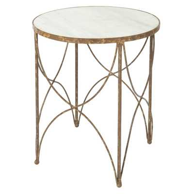 Sean Mid-Century Round White Marble Top with Rustic Gold Frame Side Table - Kathy Kuo Home