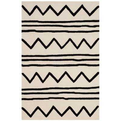 Brenner Hand-Tufted Wool Ivory/Black Area Rug - AllModern