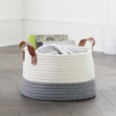 Leather Handle Medium Floor Rope Basket - Crate and Barrel