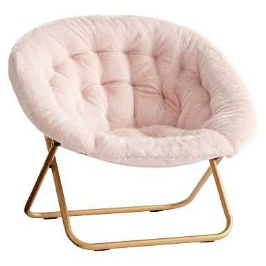 Iced Faux-Fur Blush with Gold Base Hang-A-Round Chair - Pottery Barn Teen