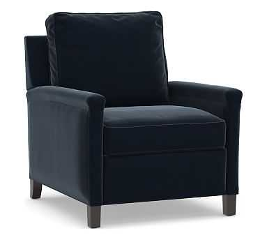 Tyler Square Arm Upholstered Recliner without Nailheads, Down Blend Wrapped Cushions, Performance Plush Velvet Navy - Pottery Barn