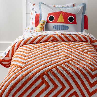 Orange and White Geometric Twin Quilt - Crate and Barrel