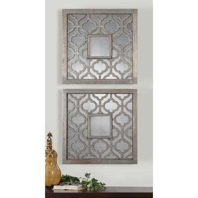 2 Piece Uptal Silver Leaf Traditional Wall Mirror Set - Birch Lane
