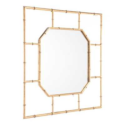 Bamboo Square Gold Wall Mirror - Home Depot