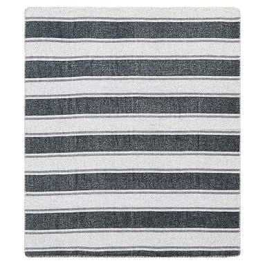 Striped Wool Blend Throw, 50x60, Charcoal Black Stripe - Pottery Barn Teen