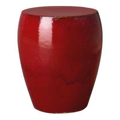 Emissary Round Red Ceramic Garden Stool - Home Depot