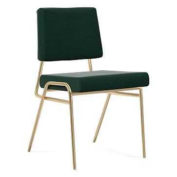 Wire Frame Dining Chair, Antique Brass Leg, Distressed Velvet, Forest, Antique Brass - West Elm