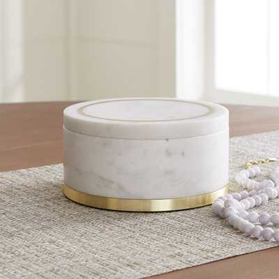 Round White Marble Box - Crate and Barrel