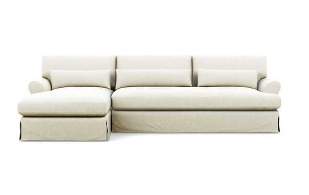 Maxwell Slipcovered Left Sectional with White Vanilla Fabric and Oiled Walnut with Brass Cap legs - Interior Define