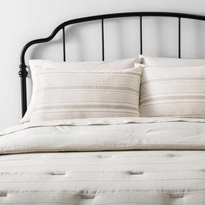 King Comforter Set Yarn Dye Stripe Pebble / Sour Cream (Pebble/Sour Cream) - Hearth & Hand with Magnolia - Target
