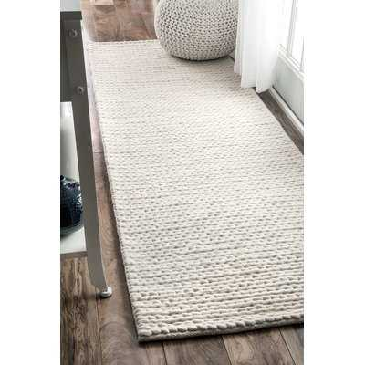 "Arviso Hand-Woven Wool White Area Rug, Runner 2'6"" x 8' - Wayfair"