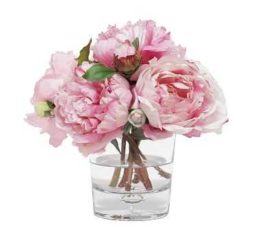 Faux Mixed Peony In Glass Vase, Pink - Pottery Barn