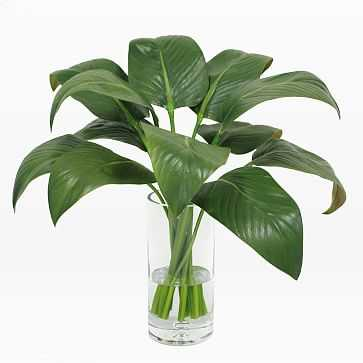 Faux Calla Leaf in Tall Vase, Green - West Elm