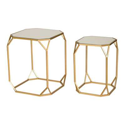 Glitzhome Deluxe Metal With Glass Gold Accent Table (Set of 2), Multi-Colored - Home Depot