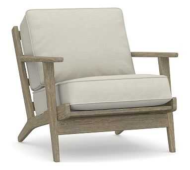 Raylan Upholstered Armchair, Polyester Wrapped Cushions, Premium Performance Basketweave Pebble - Pottery Barn