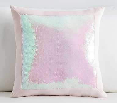 Sequin Framed Pillow, 16x16 Inches, Pink - Pottery Barn Kids