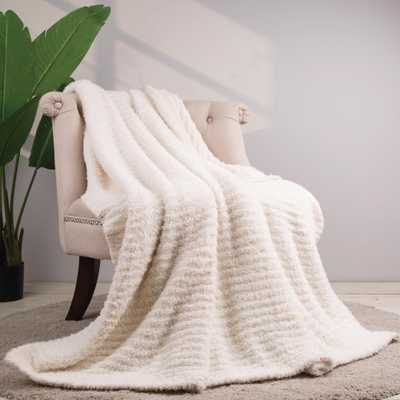 60 in. L x 50 in. W, 800g Knitted Polyester Beige Feather Yarn Throw Blanket - Home Depot