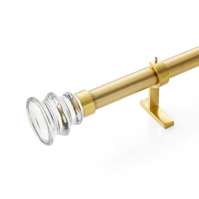 """CB Newel Brass Glass Finial and Curtain Rod Set 48""""-88"""" - Crate and Barrel"""