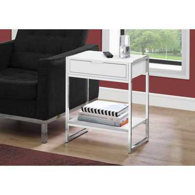 MONARCH SPECIALTIES White End Table with a Drawer - Home Depot