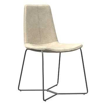 Slope Dining Chair, Charcoal Leg, Distressed Velvet, Light Taupe, Charcoal - West Elm