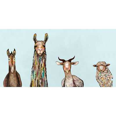 'Donkey, Llama, Goat, Sheep' on Sky Blue Background Print on Canvas - AllModern
