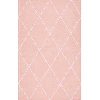Karina Hand-Tufted Wool Baby Pink Diamond Area Rug - AllModern