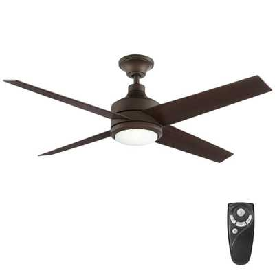 Home Decorators Collection Mercer 52 in. Integrated LED Indoor Oil Rubbed Bronze Ceiling Fan with Light Kit and Remote Control - Home Depot