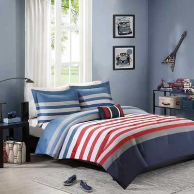 Noah 4-Piece Red/Blue Full/Queen Striped Comforter Set - Home Depot