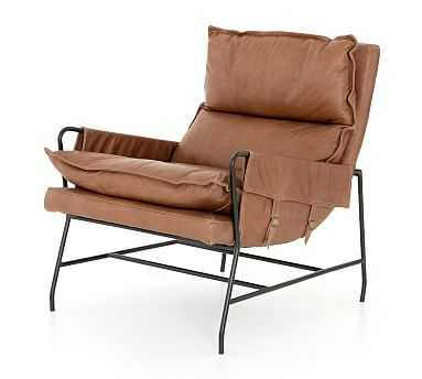 Hugh Leather Armchair, Chaps Saddle - Pottery Barn