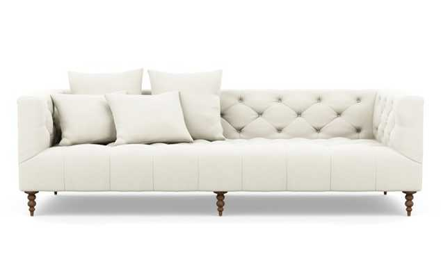 Ms. Chesterfield Sofa with White Ivory Fabric and Oiled Walnut legs - Interior Define
