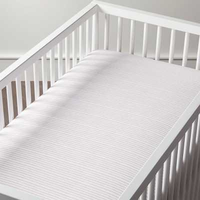 Organic Pattern Play Pink Stripe Crib Fitted Sheet - Crate and Barrel
