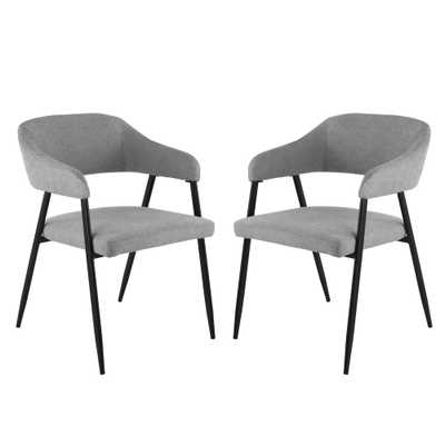 Helsinki Upholstered Grey Dining Chair in (Set of 2) - Home Depot