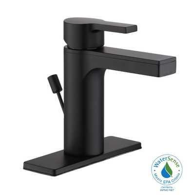 Glacier Bay Modern 4 in. Centerset Single-Handle Low-Arc Bathroom Faucet in Matte Black - Home Depot