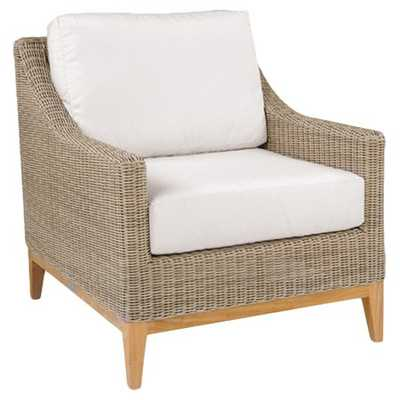 Kingsley Bate Frances Coastal Beach White Wicker Teak Outdoor Lounge Chair - Kathy Kuo Home