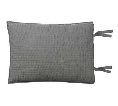 Pick-Stitch Handcrafted Sham, Standard, Flagstone Gray - Pottery Barn