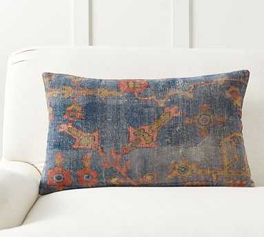 "Dara Printed Lumbar Pillow Cover, 16 x 26"", Blue Multi - Pottery Barn"
