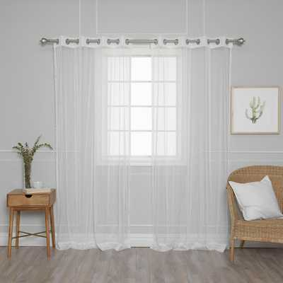 Best Home Fashion 84 in. L Simple Sheer Dot Curtains (2-Pack), White Simple Sheer Dot - Home Depot