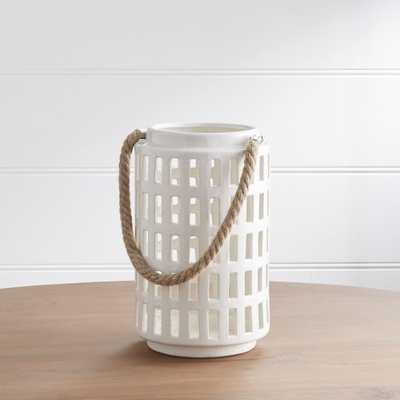 "Peek 10.75"" Ivory Ceramic Lantern - Crate and Barrel"