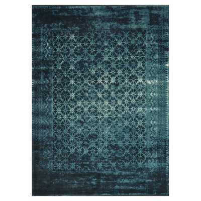 Rehema Modern Bazaar Indigo Ink Wash Wool Rug - Kathy Kuo Home