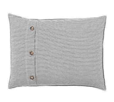 Wheaton Stripe Sham, Standard, Navy - Pottery Barn