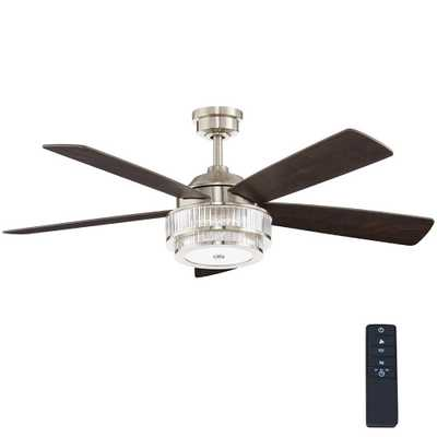 Home Decorators Collection Caldwell 52 in. LED Brushed Nickel Ceiling Fan - Home Depot