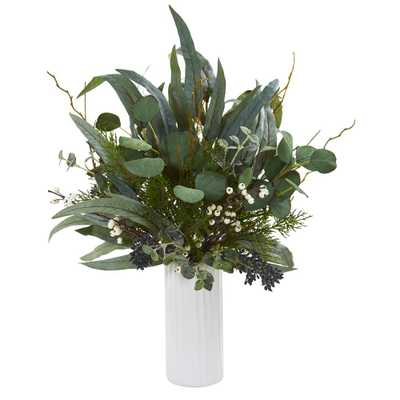 Nearly Natural 22 in. Eucalyptus Artificial Plant in White Cylinder Vase - Home Depot
